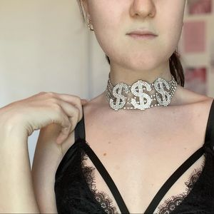 NWT silver dollar sign $$$ choker